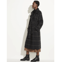 plaid midi length coat