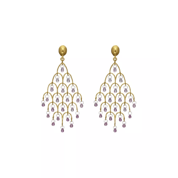 Yellow Gold and Platinum Pink Sapphire Chandelier Earrings product shot front view