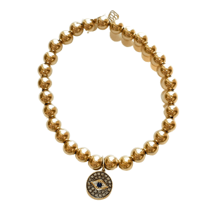 Gold Bracelet with Small Eye Disc Charm
