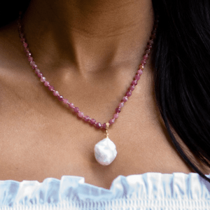 Knotted Pink Tourmaline Necklace with Baroque Pearl product shot front view on model