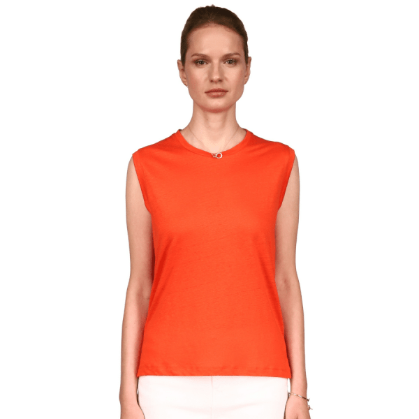 Stretch Linen Semi-Relaxed Tank with Slits