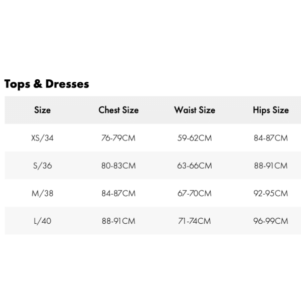 zadig tops and dresses size chart