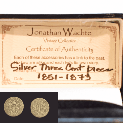 Silver 3 Cent Coin Cufflinks product shot certificate of authentication