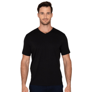 Model Wearing The Noah V-Neck in Black product shot front view