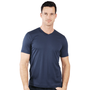 Model Wearing The Noah V-Neck in Navy product shot front view