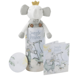 """10"""" Prince Elephant Baby Knit Toy with Gift Box"""