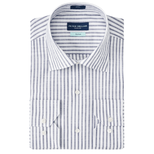 Summer Chambray Chateau Stripe Sport Shirt product shot front view