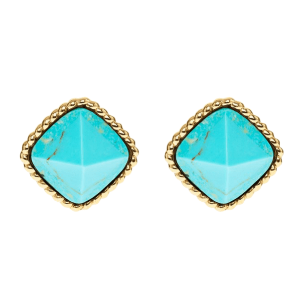 Blandine Post Earrings, Turquoise product shot front view