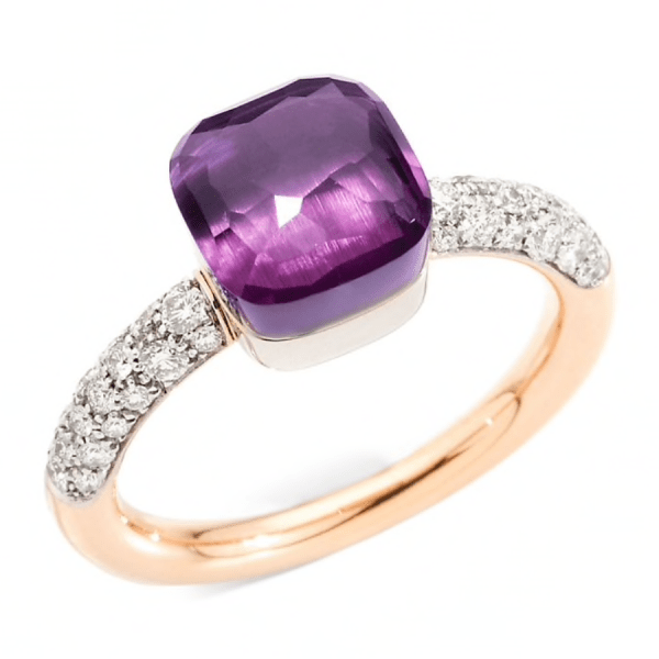 Ring Nudo Petit with Amethyst and Diamonds product shot full view