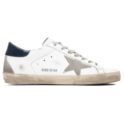 White and Blue Golden Goose Superstar Sneaker product shot side view