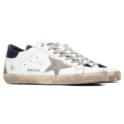 White and Blue Golden Goose Superstar Sneaker product shot front side view