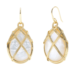 Ocean Goddess Mother of Pearl Drop Earrings product shot front view