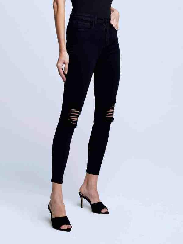 Margot High Rise Skinny Jean in Noir Destruct