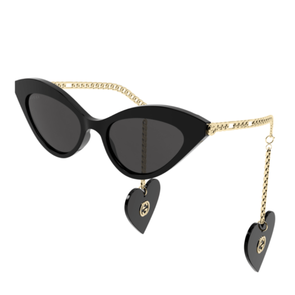 Gucci Cat Eye Chain Link Sunglasses product shot front and side view