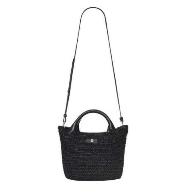 Cassia Mini Bag in Charcoal product shot with strap