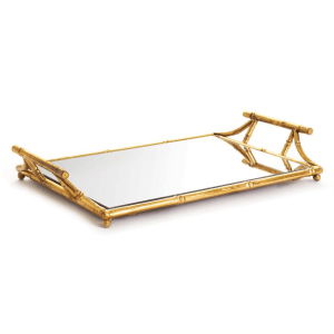 Daphne Mirrored Tray with Handles product shot full view