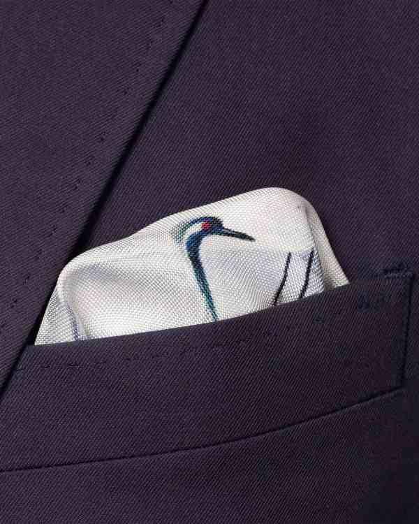 Mid Blue Crane Silk Pocket Square