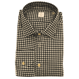 Check Spread Collar Shirt in Black and White