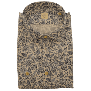 Floral Spread Collar Shirt in White and Blue