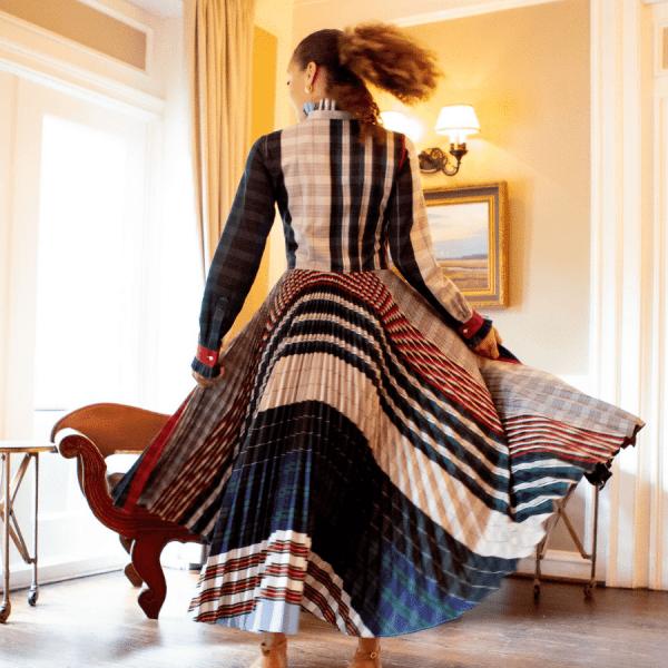 Tan 90 Dress in Stripe