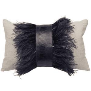 Ostrich Trim/Natural Linen Pillow - 22x14