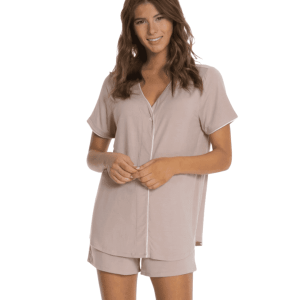 Luxe Milk Short Sleeve Piped PJ Boxer Set in Faded Rose