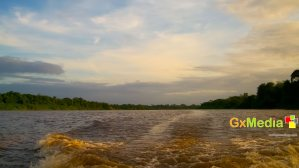 After a day of adventure in the Demerara River.