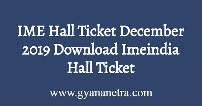 IME Hall Ticket December 2019