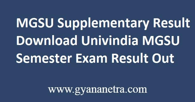 MGSU Supplementary Result Download