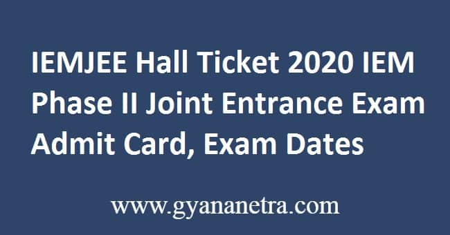 IEMJEE Hall Ticket