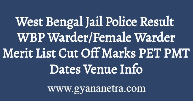 West Bengal Jail Police Result