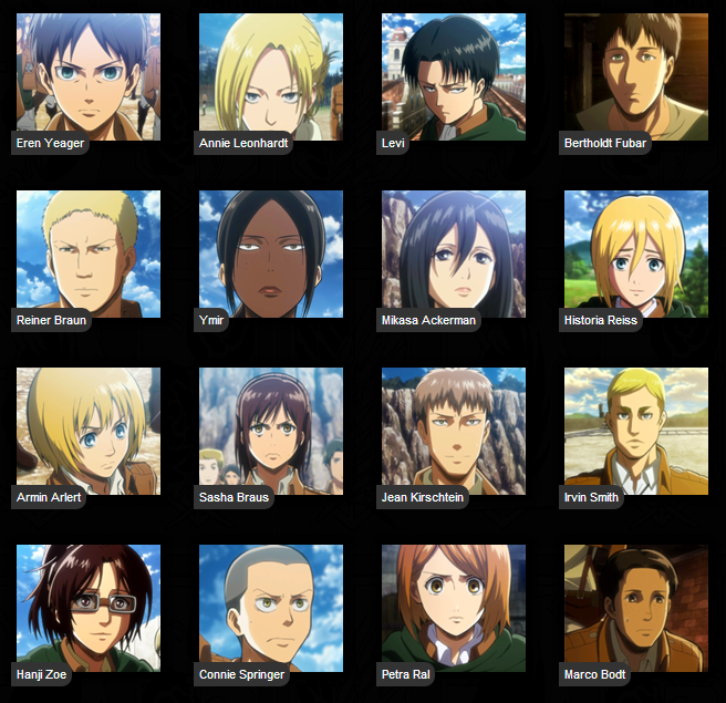 Image result for attack on titan characters