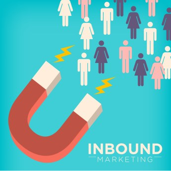 Inbound Marketing Magnet Graphic Attracting Male and Female Stick Figures with Pull Marketing Tactics and Techniques