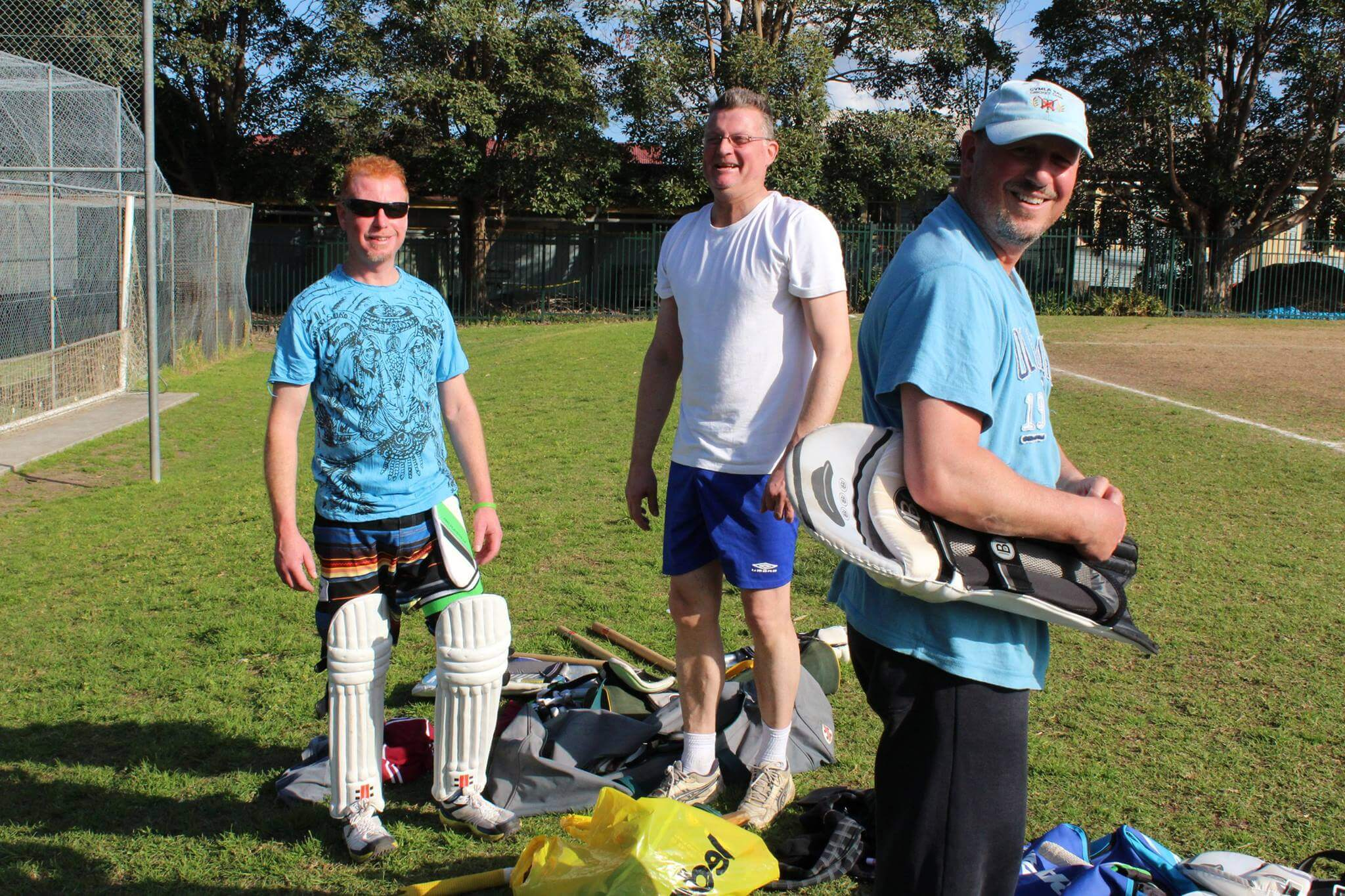 A photo of senior cricket players pre-game.
