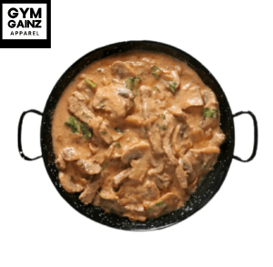 Braised beef stroganoff low in fat and delicious