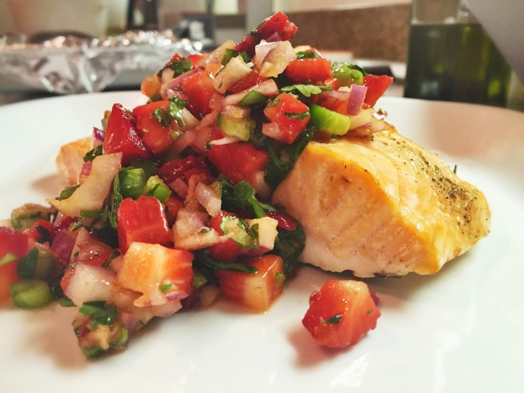 roasted salmon with a strawberry salsa