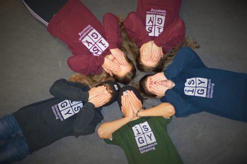 Kapuzenpulli burgundy, navy, schwarz _ T-Shirt grün