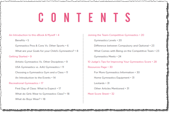 getting started with gymnastics table of contents