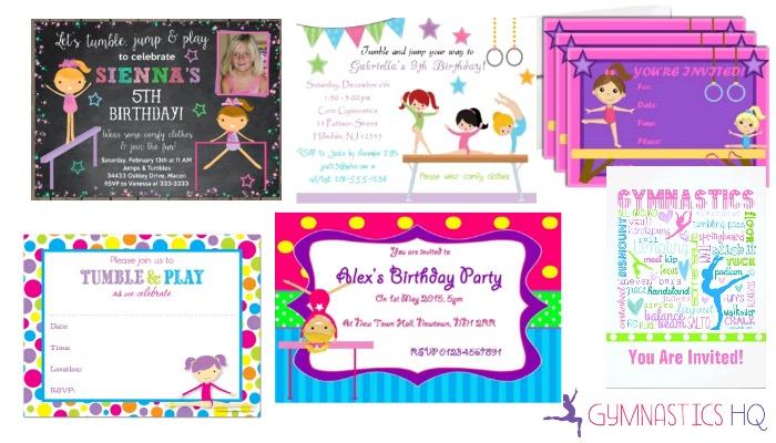 gymnastics party invitations