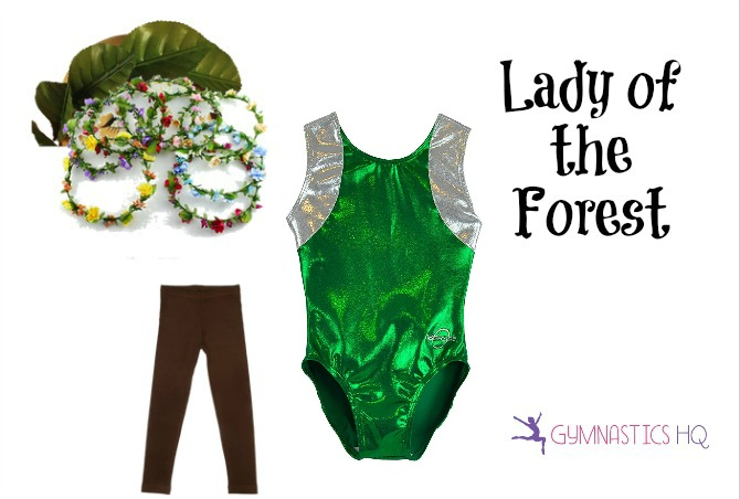 lady of the forest costume with gymnastics leotard