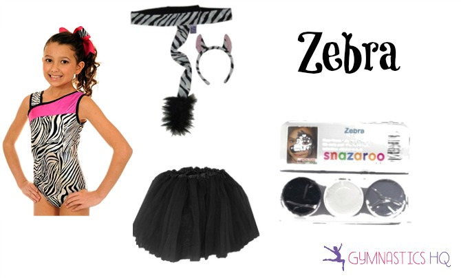 zebra halloween costume with gymnastics leotard