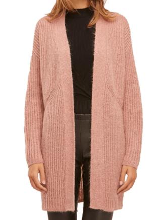 Shopping abbastanza sobrio per l'Autunno Inverno 2020 cardigan lungo rosa mohair