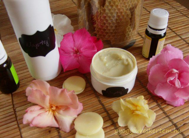 Naptej természetes összetevőkkel, növényi olaj, illóolaj, méhviasz, kakaóvaj
