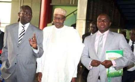 Former Lagos-State Governor Raji Fashola with President Muhammadu Buhari and Former River-State Governor Rotimi Amaechi (Photo Credit:  Empowered Newswire )