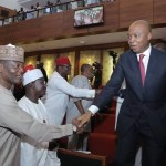 Photos News: Senate President Bukola Saraki, Resume Back His Leadership Role in Senate House with Smile , While 84 Senators Passed Vote Of Confidence On Him