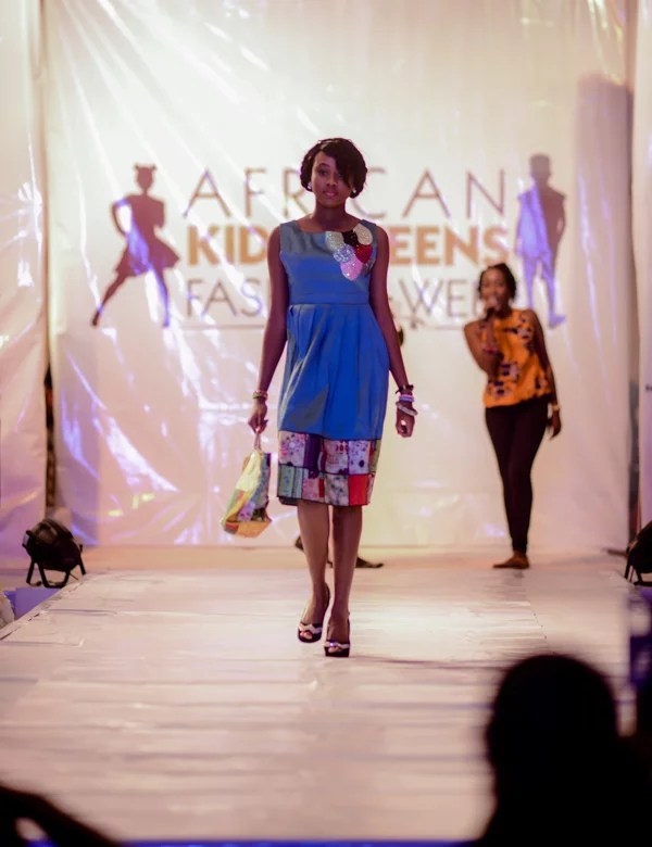One of the teenager super models rocking the runway podium at second edition of African Kids and Teens Fashion Week 2015