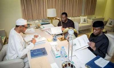 President Muhammadu Buhari, Vice President Yemi Osinbajo and Senator Udoma Udo Udoma