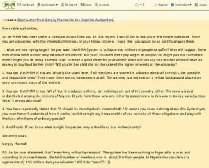 MMM Open Letter to Nigeria Government