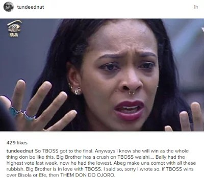 Tboss at BB Naija