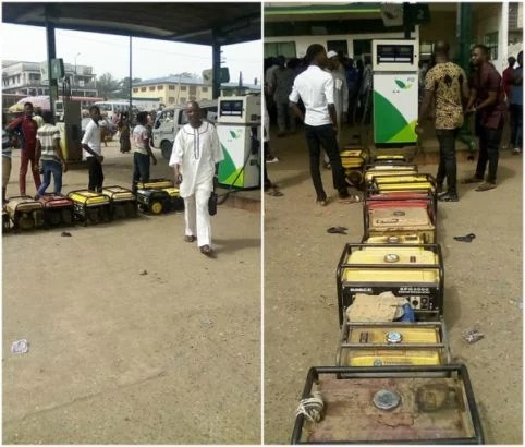 Generator owners queue at Filling Station